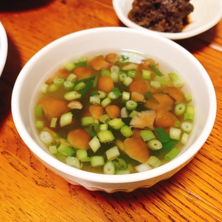 なめことネギの中華スープ