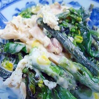 チキンと紫菜の辛子マヨ和え(菜の花)