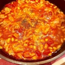 フライパン一つで♡簡単!鶏肉と大豆のトマトチーズ煮