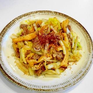 滋味旨い!豚肉と白菜と油揚げの塩レモンマヨ炒め