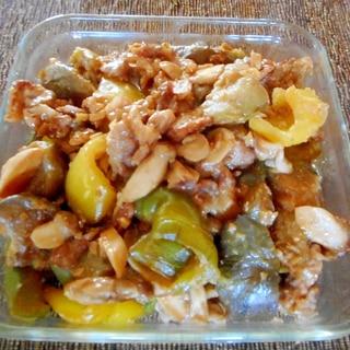 豚肉と白ナス、パプリカ、エリンギの味噌炒め
