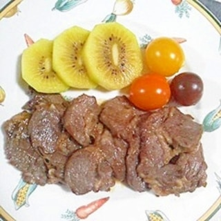 ラム肉に、にんにく醤油~♥