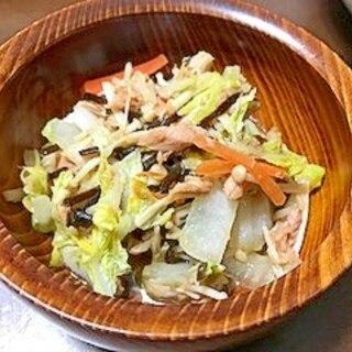 ツナと白菜の塩昆布炒め