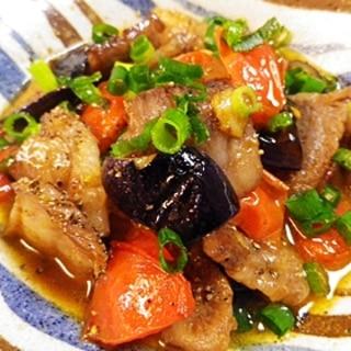 牛肉茄子トマト炒め