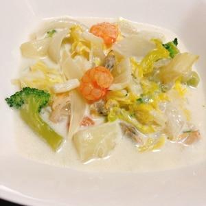 野菜だしを使って♡シーフードと白菜のクリーム煮♪