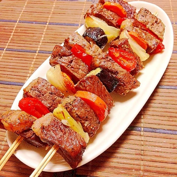 【ノンフライヤー】コストコ肉でBBQのような串焼き