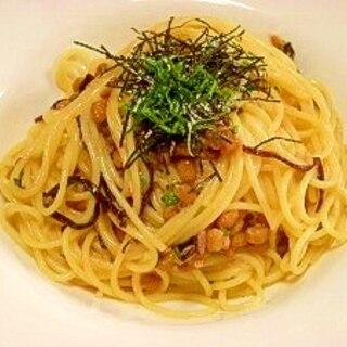 納豆卵スパゲッティ