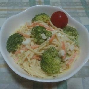 ゆで卵とブロッコリーのスパゲティサラダ