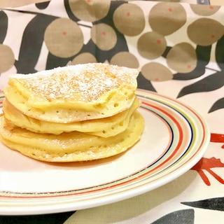 簡単お菓子☆ヘルシーなふわふわ豆腐パンケーキ