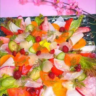 綺麗な根菜と鯛、サーモン、ホタテのカルパッチョ