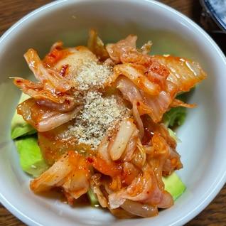 アボカドキムチ麺つゆ和え