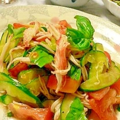夏仕様、カニカマのバルサミコ酢サラダでさっぱり!