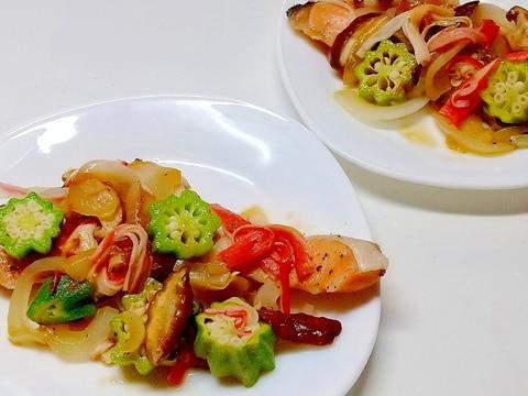 ボリュームたっぷり、鮭の野菜蒸し