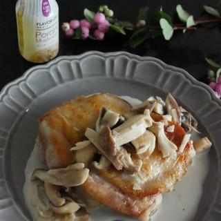 秋の味覚★きのことガーリックのクリームチキン