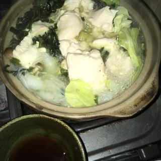 ポン酢でさっぱり胸肉の水炊き