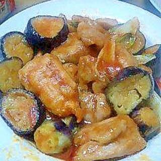ナスと鶏肉のケチャップ炒め