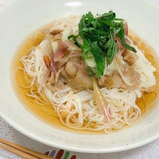 豚肉と香味野菜のぶっかけ素麺☆