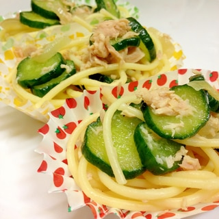 お弁当や付け合せに、ツナときゅうりのパスタサラダ