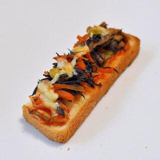 キムチ,ひじき煮,蒸しきのこ,マヨdeトースト