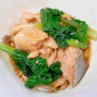 鱒と小松菜の甘酢和え