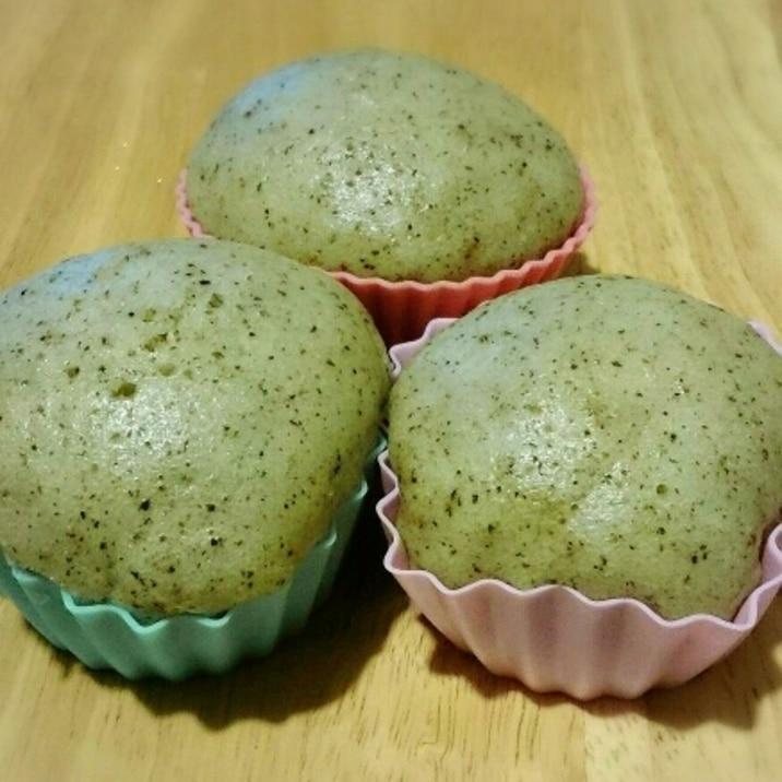 卵なし☆抹茶入り玄米茶蒸しパン