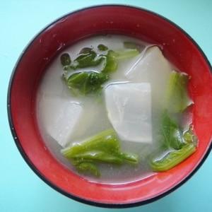 カブとカブの葉たっぷりのお味噌汁