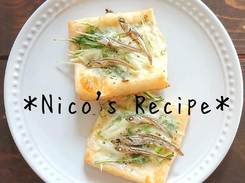 煮干しと水菜の油揚げピザ