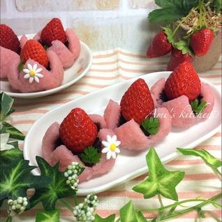 もち米で苺桜餅♡