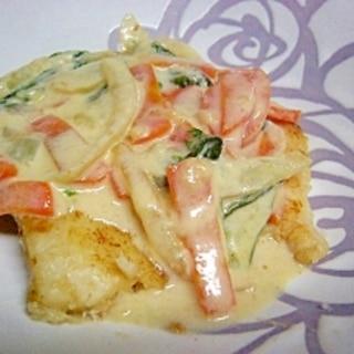 白身魚のムニエル!野菜たっぷりクリームソース