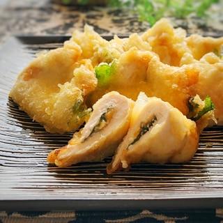 鶏むね肉の梅しそ天ぷら