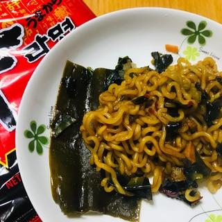 辛ラーメンで!簡単夕食☆チャパグリ風ジャージャー麺