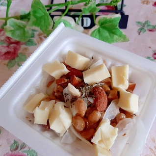 アーモンド♡チーズ♡酢玉ねぎ♡納豆