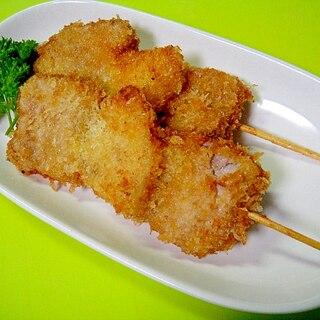 豚ひれ肉と新玉ねぎの串カツ