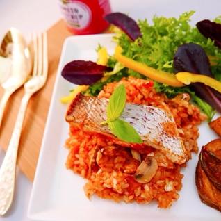 炊飯器で炊くだけ簡単!カフェ風、鯛のトマトライス!
