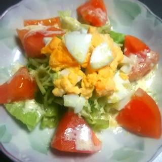 ゆで卵のチーズドレッシングサラダ
