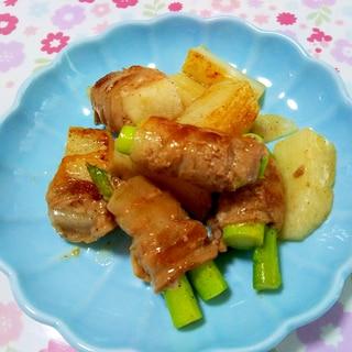 アスパラと山芋の豚ばら炒め++