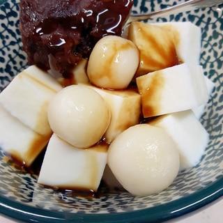 子供が喜ぶ(^^)牛乳かん+黒蜜&白玉のあんみつ♪