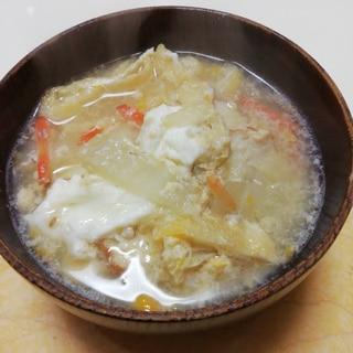 焼き豆腐竹輪と白菜と油揚げの卵とじ味噌汁