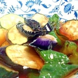 めんつゆで簡単!!夏野菜の揚げびたし♪