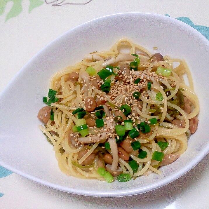 めかぶ納豆パスタ++