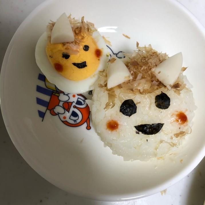 節分✨簡単オニさんのおにぎりとゆで卵(^^)