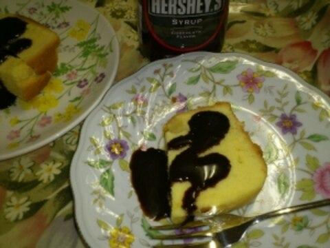 HB☆パウンドケーキのチョコソースかけ