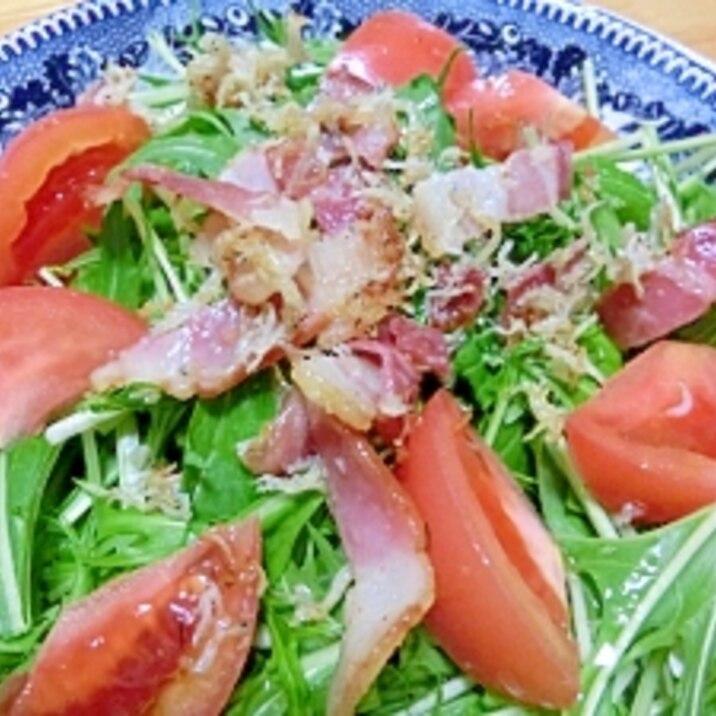 水菜のサラダ カリカリジャコ&ベーコンのせ