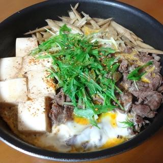 簡単に!肉ごぼう豆腐のたまごとじ
