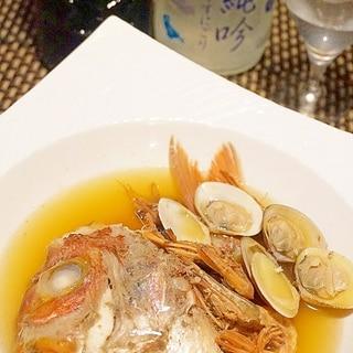 【山形食材】鯛のあらとこだま貝のアクアパッツァ