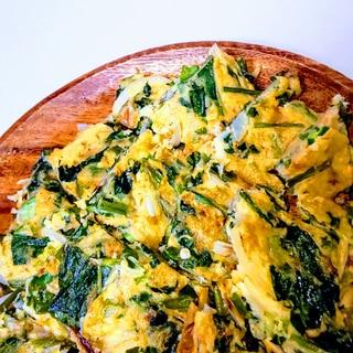 空芯菜、つるむらさき、オクラの米粉チヂミ