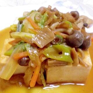 豆腐のステーキ(きのこと貝柱ソース)