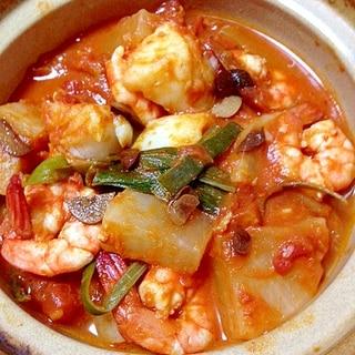 爽やかで温まろ◎白身魚とエビのトマト煮