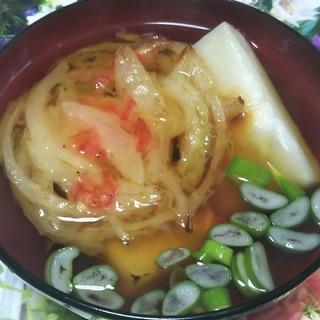 桜海老と玉ねぎのかき揚げ入り御雑煮☆