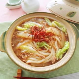 大根と白菜の肉あんかけ鍋うどん